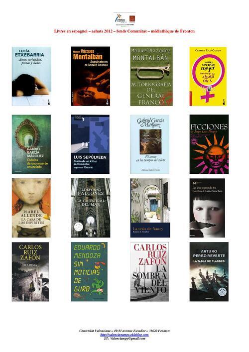 livres disponibles en espagnol à la médiathèque
