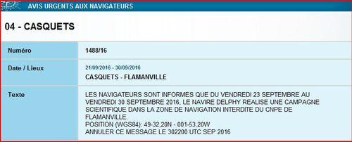Vebdredi 23 septembre: Avis aux navigateurs sur FLAMANVILLE