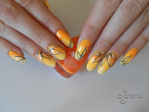 Nail Art Sunshine & Leaves
