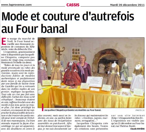 Cassis : Mode et couture d'autrefois au Four banal