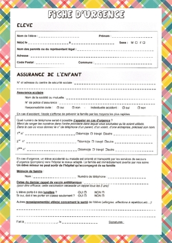 Documents à remplir par les parents