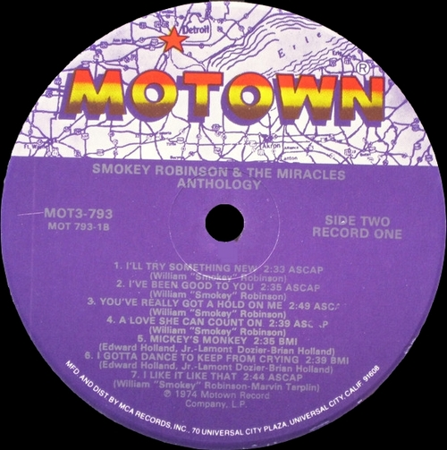 "Smokey Robinson & The Miracles : Album "" Anthology "" Motown Records MOT3-793 [ US ]"