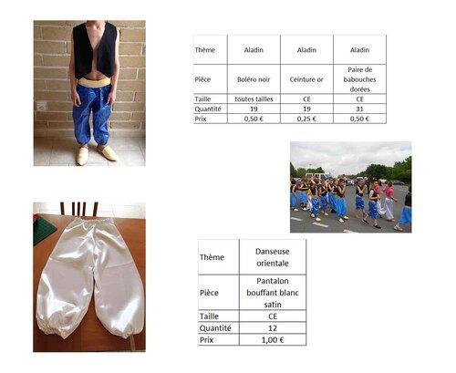 Costumes pour CE