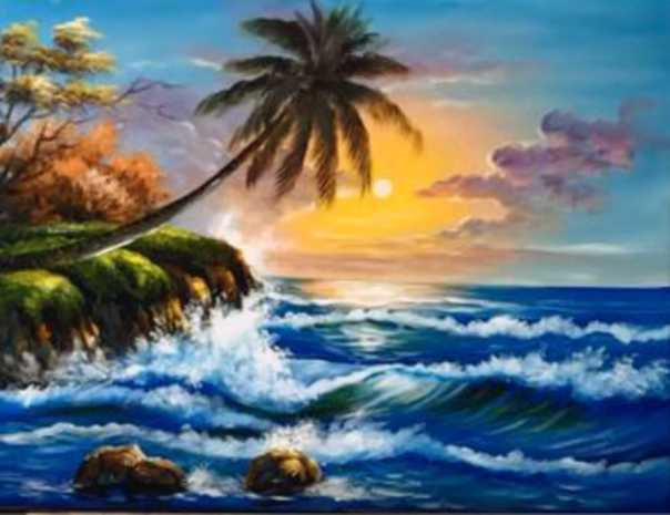dessin et peinture vid o 2109 comment peindre la mer et les vagues dans un paysage exotique. Black Bedroom Furniture Sets. Home Design Ideas