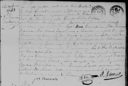 Acte de naissance et de décès de Dieudonnée Antoine (1835-1840)