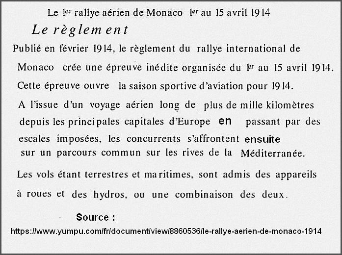 Le rallye aérien de Monaco 1914 et Roland Garros