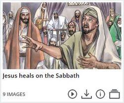 Jésus guérit un homme avec une main sèche le jour du sabbat