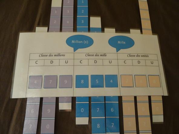Tableau de numération à manipuler