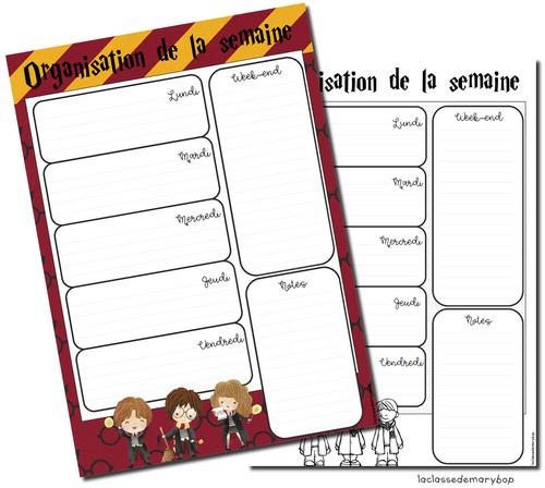 Harry Potter - Organisation de la semaine