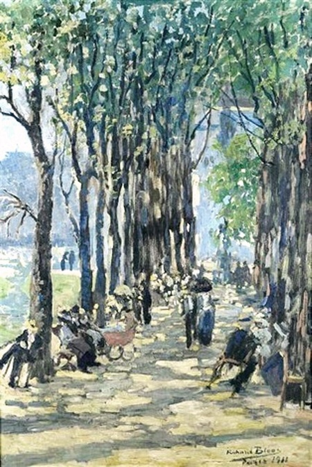 Richard Bloos (1878-1956).  Une allée du Luxembourg (toile datée 1915)