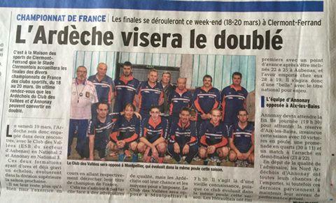 Championnat des Clubs à Clermont Ferrand le 19/20 Mars 2016 :ESB des Vallées