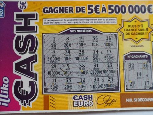 Ticket gagnant française de sjeux CASH
