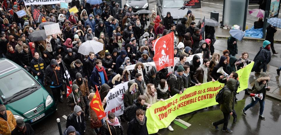 Plusieurs milliers de personnes participent en ce moment à la manifestation anti-loi du travail. (c) AFP