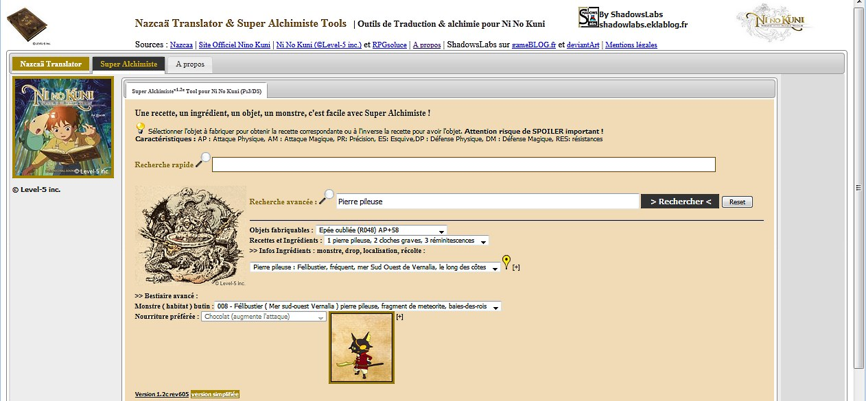 Super Alchimiste Tool by ShadowsLabs pour Ni No Kuni