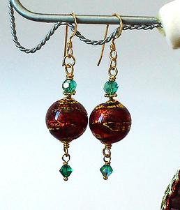 Boucles Verre de Murano authentique Rouge Feuille d'Or, Cristal Vert  / Plaqué Or Gold Filled