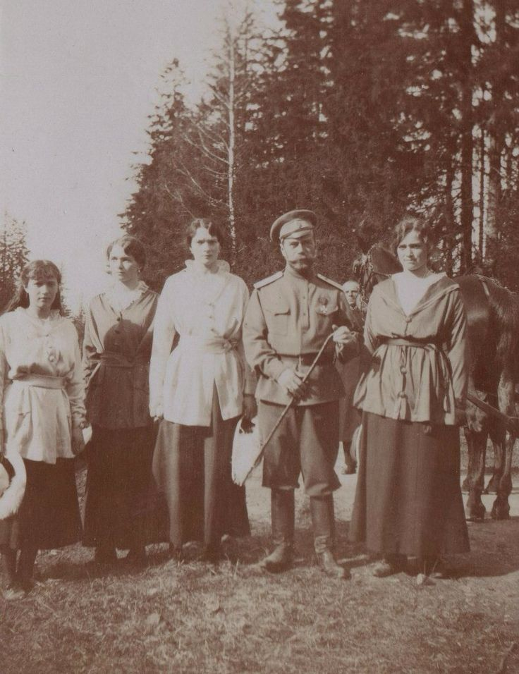 Tsar Nicholas II with daughters Grand Duchesses Anastasia, Olga, Tatiana, and Marie