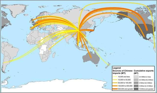 La Chine absorbe presque les trois quarts des exportations de déchets plastique mondiaux. © Amy L. Brooks et al., Science Advances