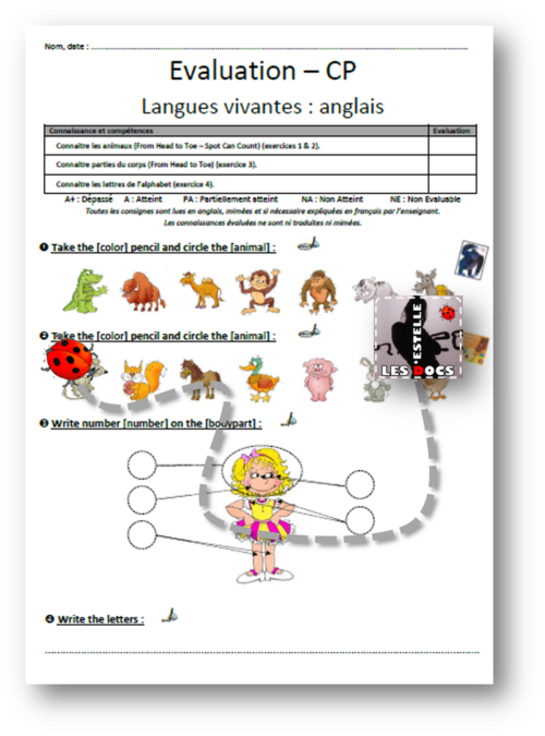 Evaluation anglais CP animaux corps alphabet - estelledocs