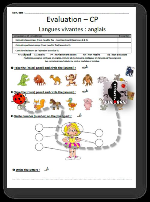 Evaluation anglais CP animaux corps alphabet - estelledocs