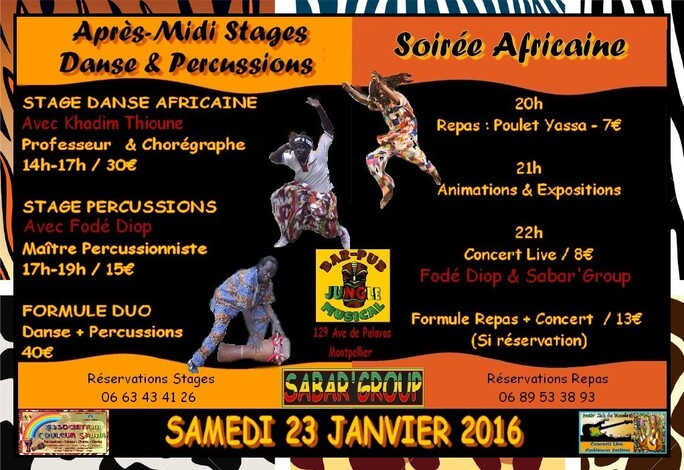 ★ STAGES DANSE AFRICAINE + PERCUSSIONS + REPAS + CONCERT [23 JANVIER 2016]