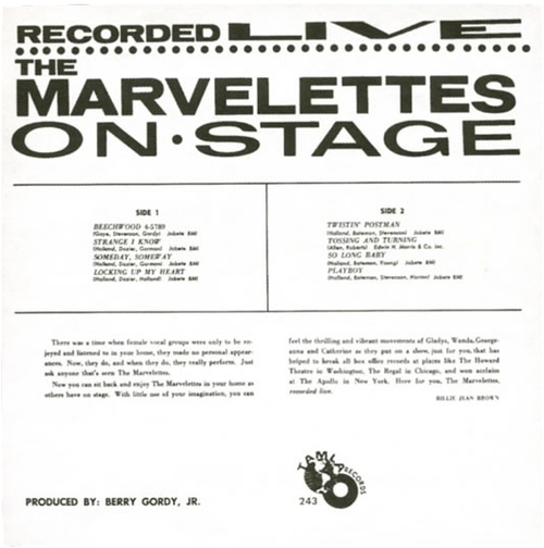 "The Marvelettes : Album "" Recorded Live On Stage "" Tamla Records TM 243 [ US ]"