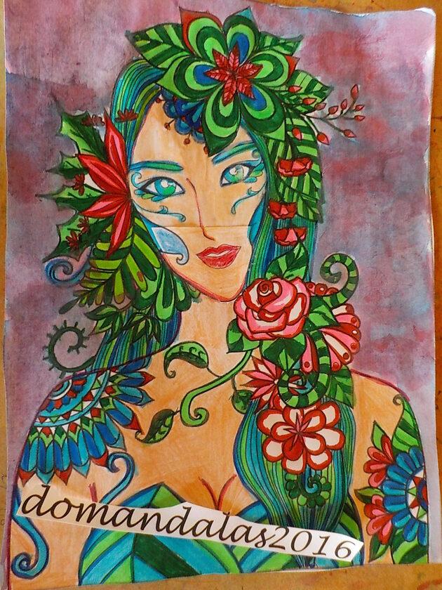 DOMANDALAS femme fleurs et feuilles dessin aux feutres