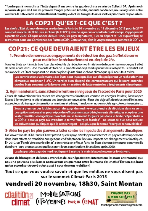 COP21 : Réunion à St-Montan le 27 novembre