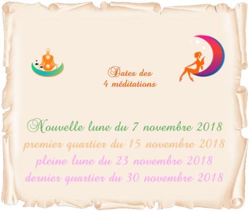 Dates des 4 méditations de novembre 2018