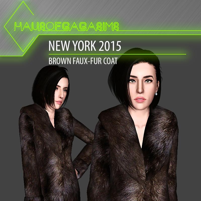 NEW YORK 2015 BROWN FAUX-FUR COAT