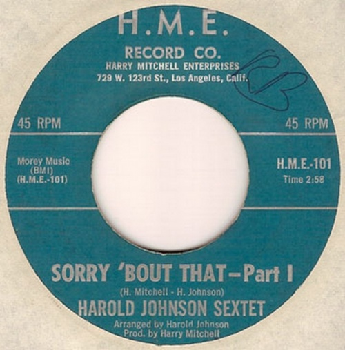 Harold Johnson Sextet : Sorry 'Bout That Parts 1 & 2