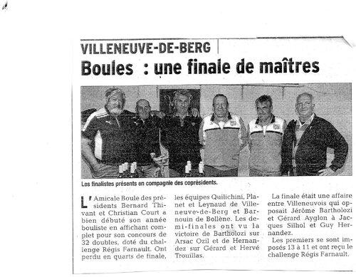 Finaliste et Vainqueurs du challenge Regis Farnault