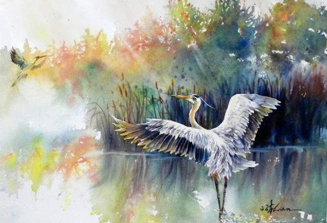 Les magnifiques aquarelles de l'artiste Lian Quan Zhen)