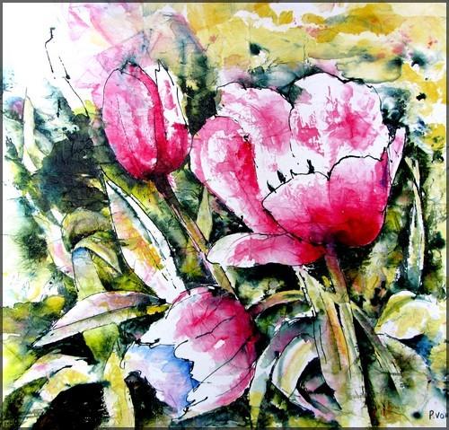 Pour célébrer le printemps: tableau de tulipes