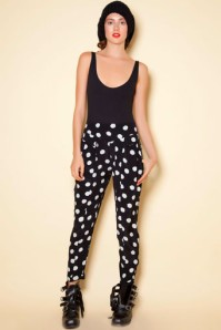 wilma trouser polka blk big ivory dot 67818