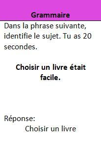Jeux de trivial pursuit en français pour le cycle 3