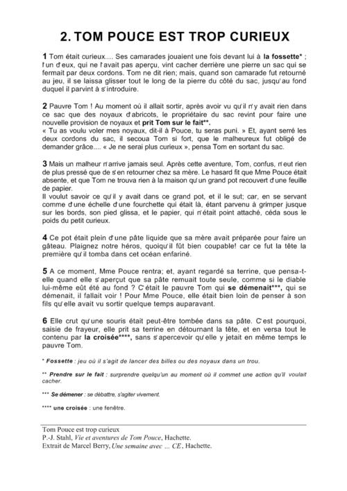 Textes de lecture CE1 Tom Pouce