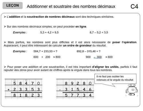Calcul - C4 : Additionner et soustraire des nombres décimaux