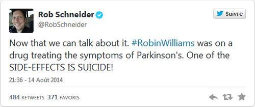 Selon un ami de Robin Williams, l'envie de se suicider est l'un des effets secondaires du traitement contre la maladie de Parkinson