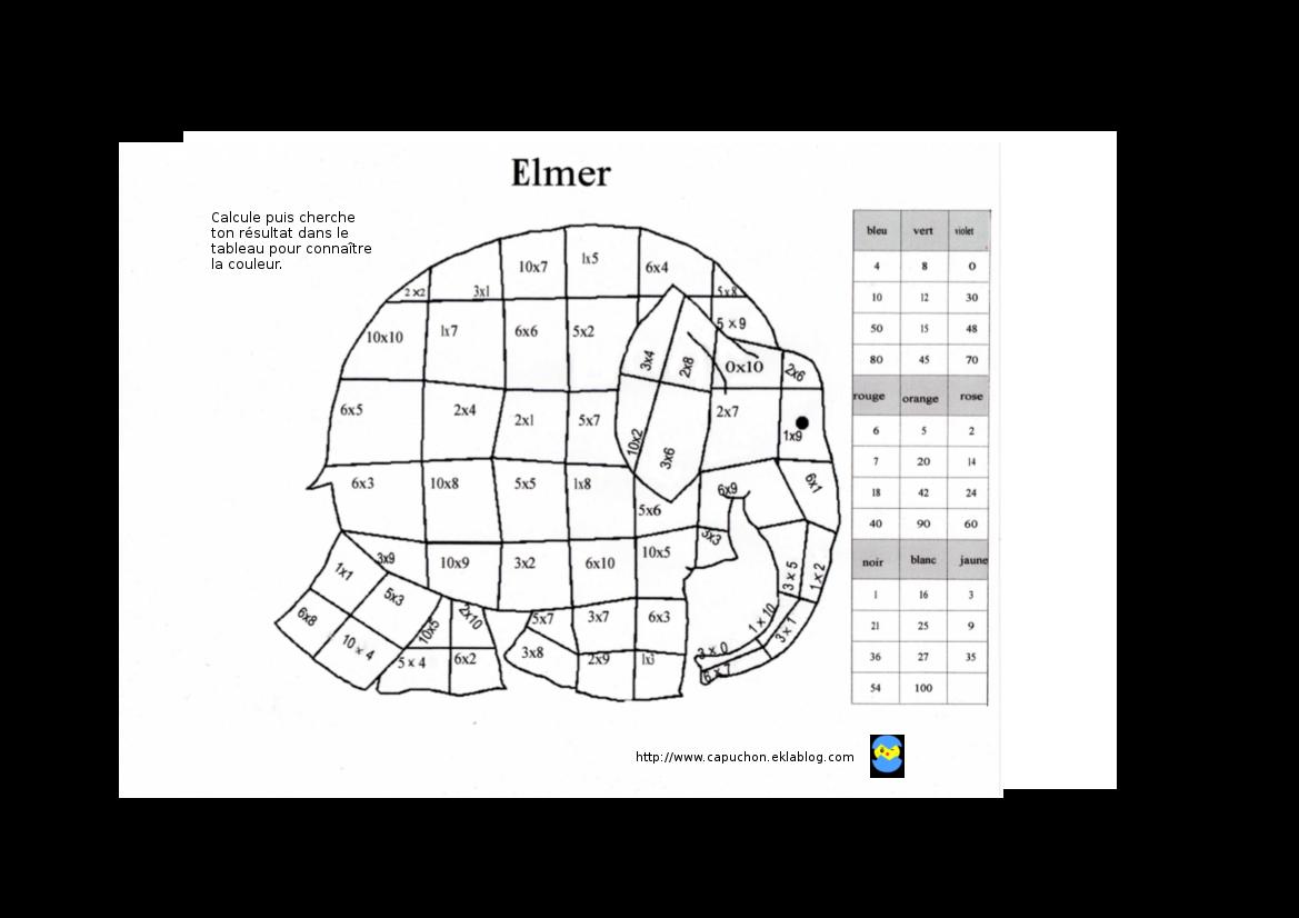 Elmer Coloriage Magique.Coloriage Magique Capuchon A L Ecole