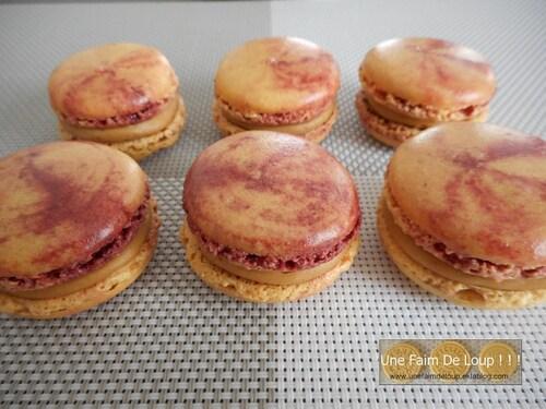 Macarons marbrés au pain d'épices et framboise