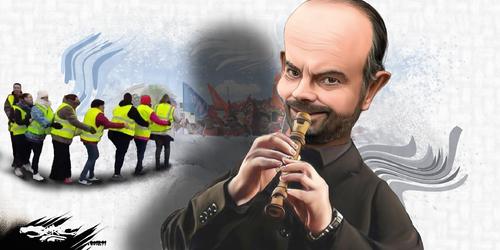 dessin de JERC et texte d'AKAKU du jeudi 22 novembre 2018 caricature Edouard Philippe La flûte en chiant tes www.facebook.com/jercdessin @dessingraffjerc