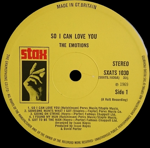 "The Emotions : Alum "" So I Can Love You "" Volt Records VOS-6008 [ US ]"