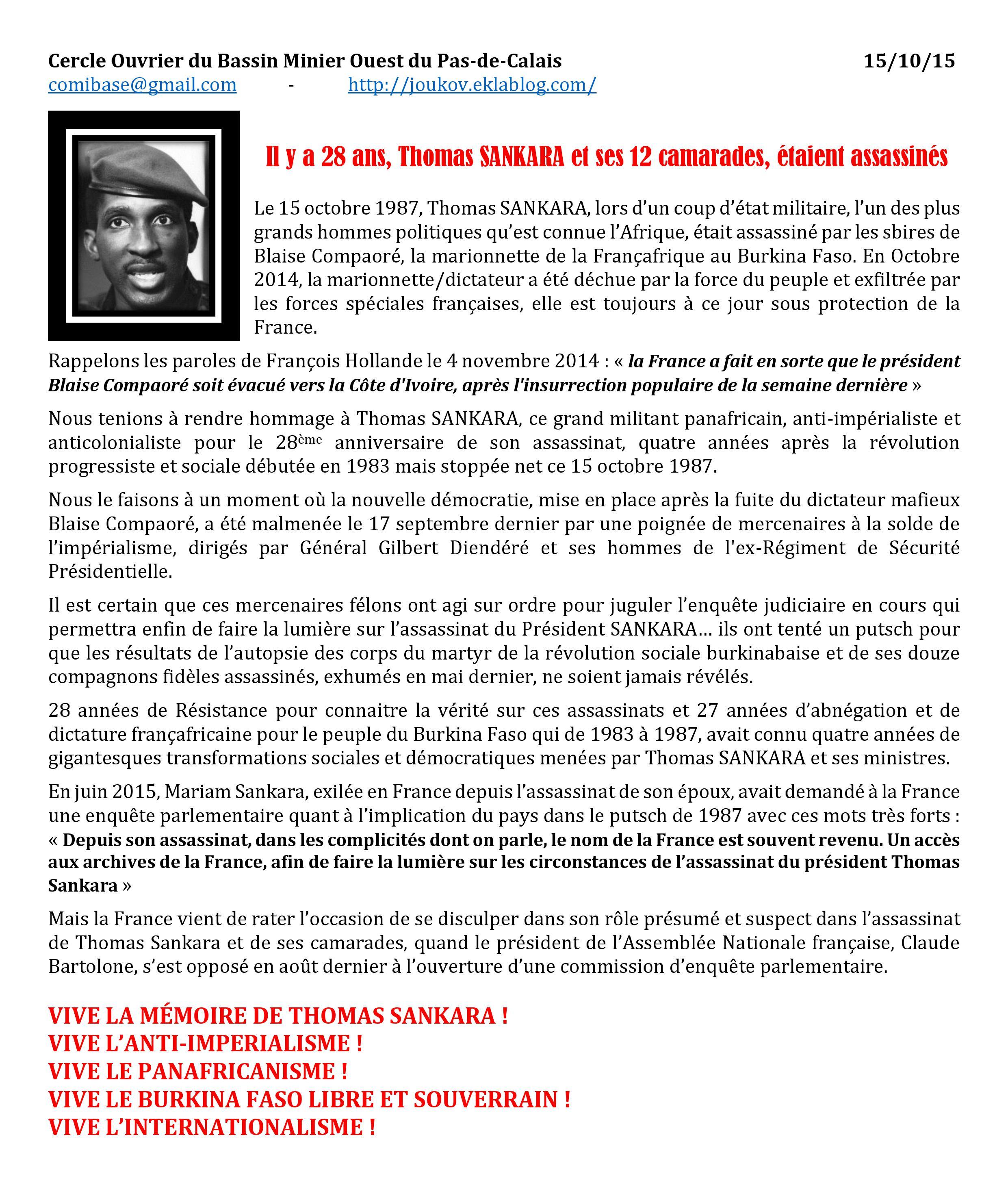 On S Bouge Archives Du Blog Il Y A 28 Ans Thomas Sankara Et Ses