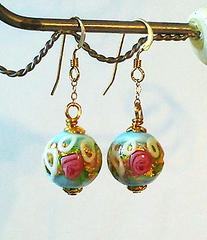 Boucles Verre de Murano authentique, Wedding Cake Bleu, Fleurs Roses et Feuille d'Or / Plaqué Or 14 kt Gold Filled