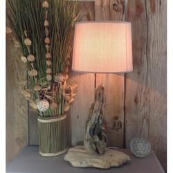lampe en bois flotté abat jour beige