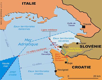 La question du partage de la baie de Piran, entre la Croatie et la Slovénie, fait toujours l'objet d'un litige qui semble ne pas pouvoir trouver d'issue par des négociations bilatérales.(Carte : www.amb-croatie.fr)