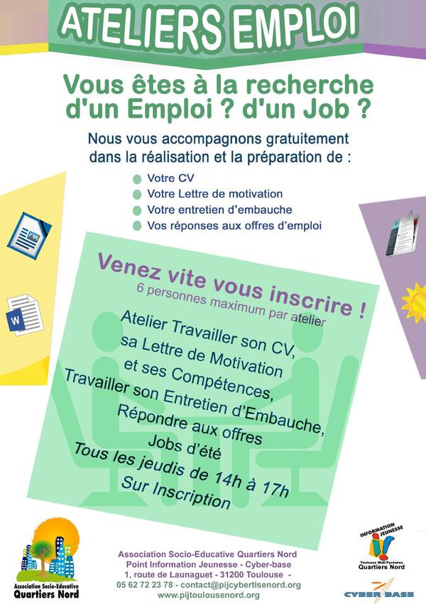 Ateliers Emploi au PIJ des Quartiers Nord de Toulouse