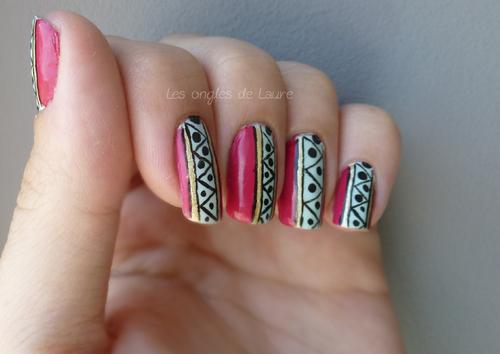 Nail Art pastéquo-aztèque