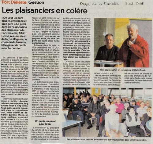 La Presse de la Manche titre: Les Plaisanciers de Port-Diélette en colère!