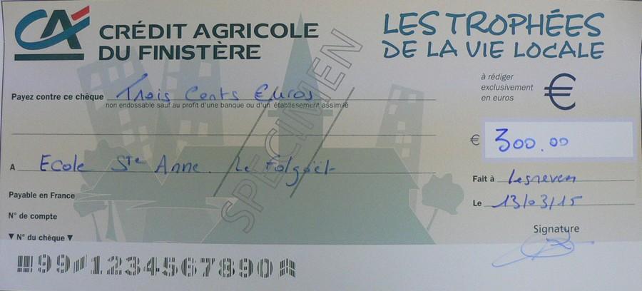 cheque de banque credit agricole
